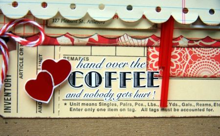Coffee words and heart rub-ons close-up